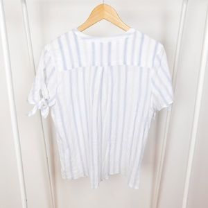 Cynthia Rowley Tops - Cynthia Rowley White & Blue Striped Blouse